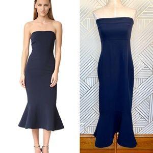 Cinq a Sept Luna Dress in Navy Blue Midi Ruffle
